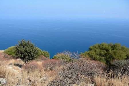 Beautiful view of the sea from the top of La Rocca mountain near the town of Cefalu. Sicily, Italy