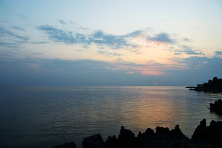 Beautiful seascape in the early morning near the coast of Sicily, Italy