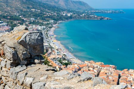 Beautiful view from the old fortress located on the top of the mountain near the town of Cefalu. Sicily, Italy Banco de Imagens