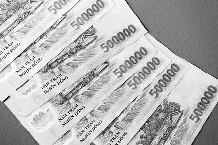 Five hundred thousand dong banknotes close-up. Money background black and white 스톡 콘텐츠