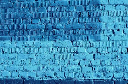 Vecchia struttura del muro di mattoni da vicino. Sfondo astratto colore blu tonico