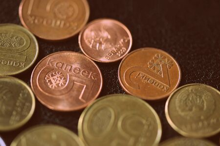 Various Belarusian coins on a dark surface close-up. Money background retro style toned