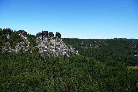 Bastai rock formation (Saxon Switzerland) in summer. Germany, Europe