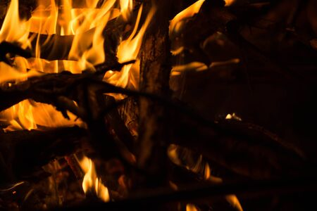 Close-up of burning bonfire. Nature abstract background Banque d'images