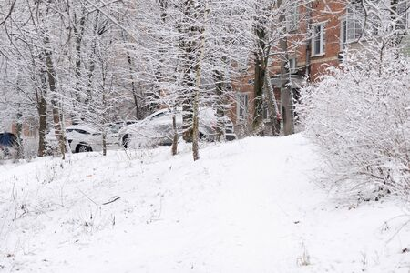 City street in winter after snowfall
