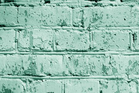 Painted brick wall close up. Abstract background green color toned