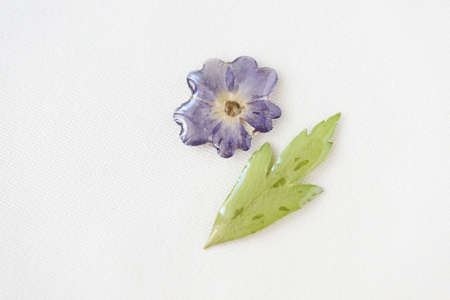 Blue flower and green leaf filled with epoxy resin on a white textile background, top view. The basis for a pendant or earrings. Handmade jewelry in the manufacturing process