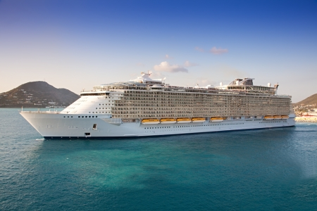 Cruise Ship departs from St  Maarten, Caribbean