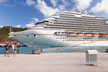 Philipsburg, St. Maarten - January 19, 2011:  Passengers return to cruise ship after a day in the Caribbean port of St. Maarten, a popular destination for many cruise ships.