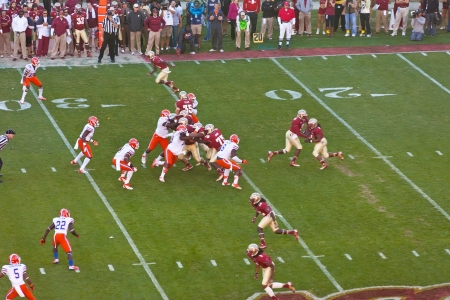 Tallahassee, Florida - Nov. 24, 2012:  College rivals, Florida State University vs University of Florida, face-off again at Doak Campbell Stadium in Tallahassee, Florida on Nov. 24, 2012.