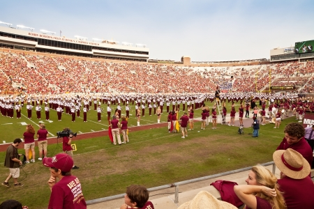 homecoming: Tallahassee, Florida - October 27, 2012:  FSUs Marching Chiefs perform during halftime at Homecoming Weekend for the FSU vs Duke football game at Doak Campbell Stadium in Tallahassee, Florida.