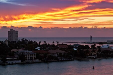 Early morning sunrise at Port Everglades water inlet, near the beach of Ft  Lauderdale, Florida Stock Photo - 16928782