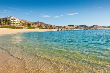 lucas: Beach and resorts on the sandy beach coastline of Cabo San Lucas, Mexico