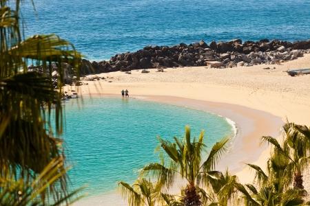 Beautiful sandy beach in Cabo San Lucas, Mexico that runs along the Sea of Cortez