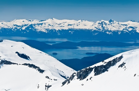 Fly over magnificent Juneau, Alaska and it Stock Photo
