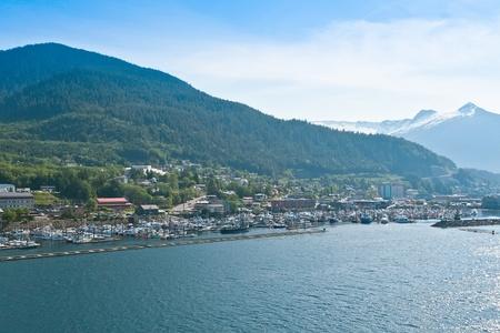 alaska scenic: Distant scenic view of the village of Ketchikan, Alaska  Stock Photo