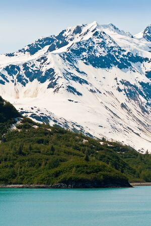 arctic landscape: Snow covered mountains and thick forest make up the coastline of the Inside Passage