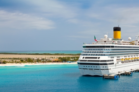 Cruise ship anchored in port of Turks and Caicos Islands in the Caribbean Stock Photo - 17091693