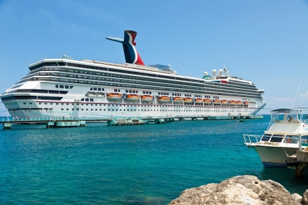 Luxury cruise ship in port of Ocho Rios, Jamaica