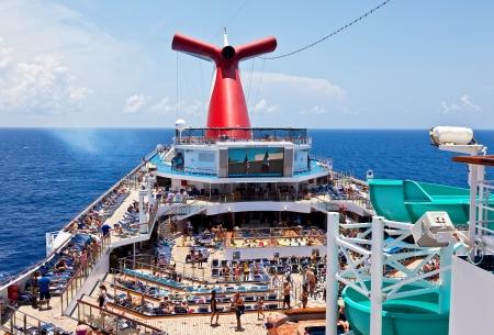 Caribbean Sea - July 12, 2011:  Passengers aboard Carnival
