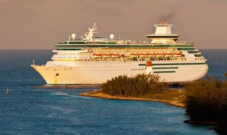 Cruise Ship entering harbor in Nassau, Bahamas at sunrise Stock Photo - 17482058