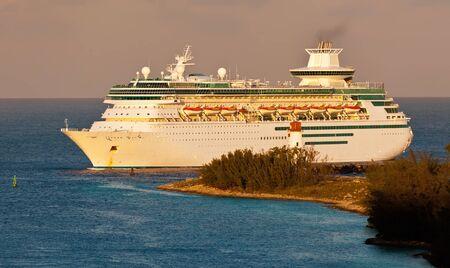 Cruise Ship entering harbor in Nassau, Bahamas at sunrise Stock Photo - 17482058