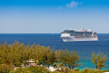 Cruise Ship entering harbor in Nassau, Bahamas