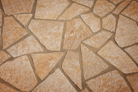 Stone walkway with geometric shapes and sizes, for background and textures  Imagens