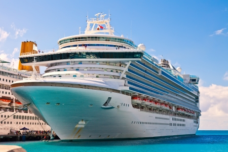 ship bow: Cruise ship anchored in Philipsburg, St  Maarten