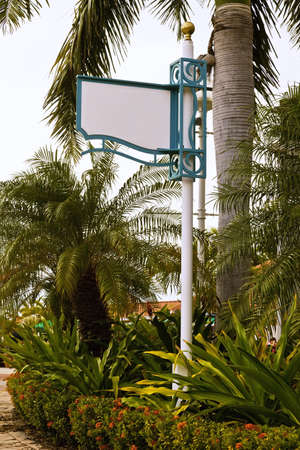 Blank sign in a tropical environment