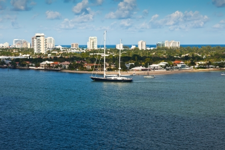 fort lauderdale: Sailboat on the intracoastal waterway in Fort Lauderale , Florida Stock Photo