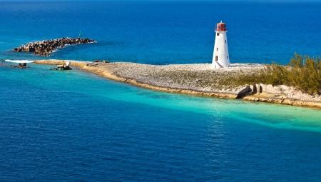 The lighthouse that sits on the tip of Paradise Island, Nassau, Bahamas
