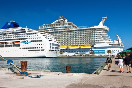 Nassau, Bahamas - Jan. 13, 2013: Cruises to the Bahamas are plentiful as the choices of cruise lines is extensive. Most call on the port of Nassau which offers private islands, beaches and shopping at Grand Bahama island.