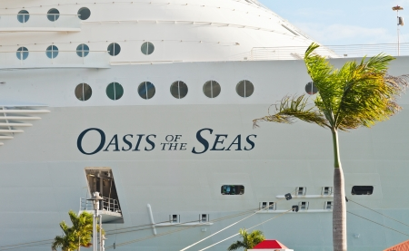 caribbeans: Charlotte Amalie, St. Thomas, US Virgin Islands - Jan. 15, 2013:  Royal Caribbeans largest ship, Oasis of the Seas, anchored in St. Thomas, set a new record by carrying more than 6,000 passengers.