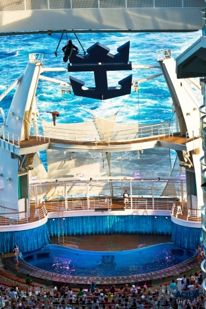 deepest: EASTERN CARIBBEAN - JAN. 17: Royal Caribbeans Oasis of the Seas pool (the deepest at sea) is an amphitheater, hosting a diving show where divers jump from as high as 72 ft, on Jan.17, 2013.  Editorial