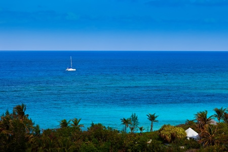 Large catamaran sailing on the Caribbean Sea
