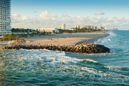 fort lauderdale: Ft  Lauderale coastline and beach, with city in the background  Stock Photo