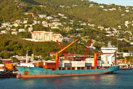 Industrial shipping port in the Caribbean Stock Photo