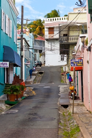 Charlotte Amalie, St. Thomas - Jan. 15, 2013:  Side stree off Main Street in St. Thomas.  Many duty free shops line the streets and alleys in Charlotte Amalie, known for best buys of jewelry and electronics.