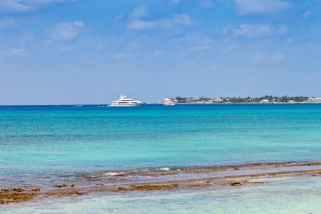 cayman islands: Yacht in the harbor in Grand Cayman, Cayman Islands Stock Photo