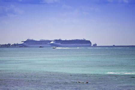 anchoring: Two cruise ships in the port of George Town, Grand Cayman, in the Cayman Islands