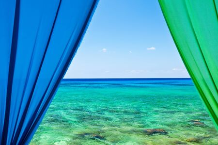Windows view of Caribbean Sea from the Cayman Islands Stock Photo - 18704340