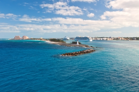 Scenic view of Nassau, Bahamas - the cruise port and Paradise Island
