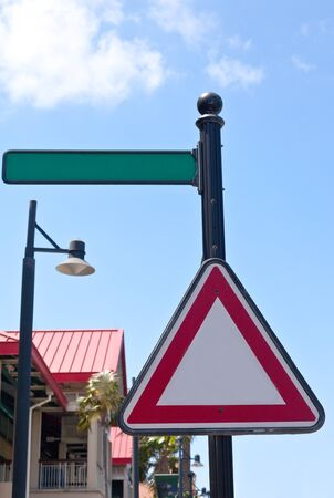 information medium: Empty street sign on street, able to add text Stock Photo