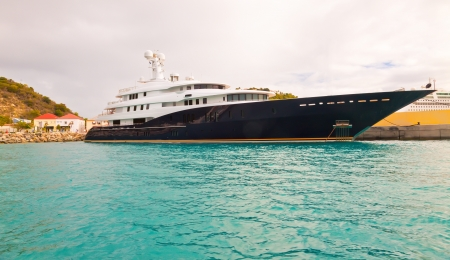 Luxury yacht anchored in the port of St  Maarten