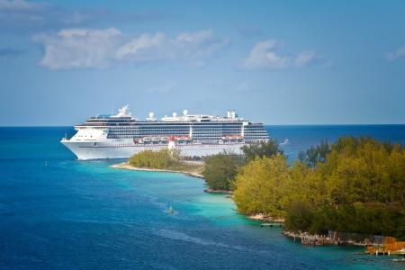Cruise ship entering the port of Nassau, Bahamas