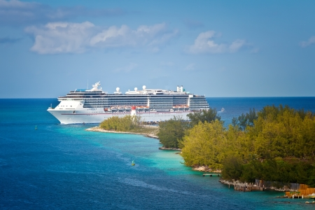 Cruise ship entering the port of Nassau, Bahamas