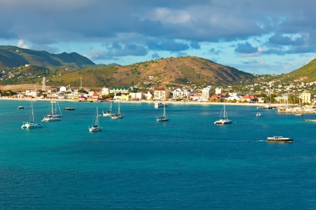 Scenic view of St  Maarten, Dutch-side, in the Caribbean photo
