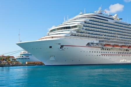 Luxury cruise ship anchored in the port of Nassau, Bahamas