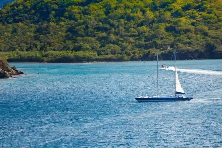 Luxury sailboat sailing on the Caribbean Sea